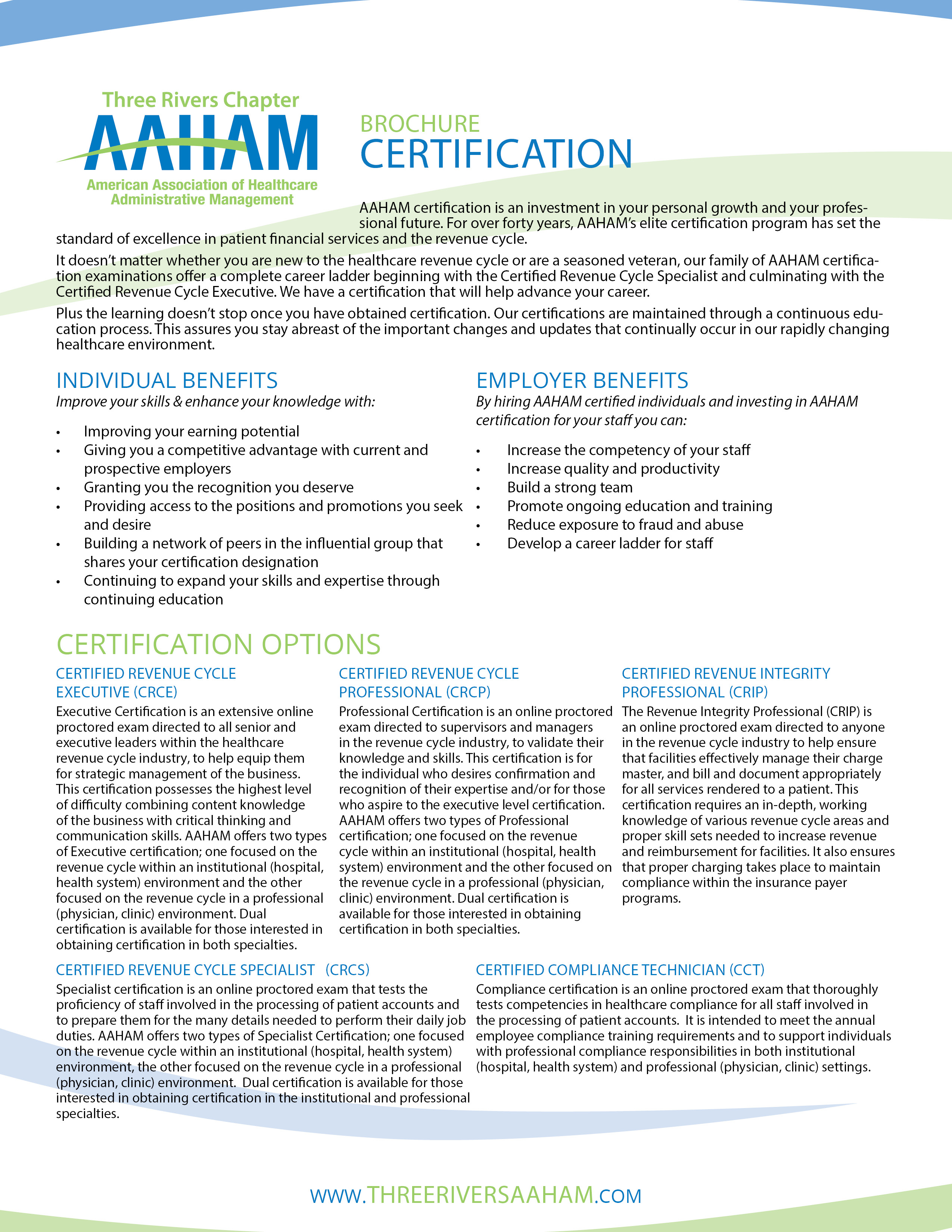 Certification aaham three rivers chapter december 19 2018 registration deadline for march 2019 exam period 1betcityfo Choice Image